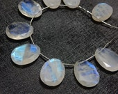 Rainbow Moonstone 15x20MM Rose Cut Slice Briolette 9 Beads Blue Fire  Wholesale Price 100% Natural