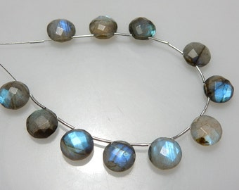 Blue Fire Labradorite Briolette Faceted Coin Beads Size - 10x10MM Approx11 Beads - Beautiful  Wholesale Price