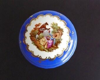 Vintage Dresser Box Powder Jar Vanity Designer Signed Limoges OTCO Bavaria Germany Blue Home Decor Collectible Decorative