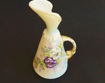 Vintage Antique Vase Pitcher, Hand Painted Porcelain, Signed, Flower Vase, Home Decor, Shabby Cottage, German Porcelain Vase, Ewer