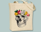 Skull with Rose Crown, Sugar Skull, Dia de los Muertos, Halloween BLACK or NATURAL canvas tote - Selection of size available