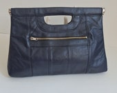 Indigo Blue leather Clutch Bag 70s Clutch Purse Leather Bag Top handle Handbag