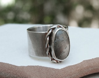 Olive Green Sea Stone and Patina Sterling Silver Band