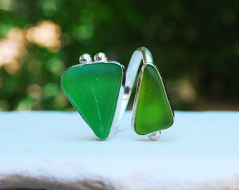 Adjustable Duo Lime Green Sea Glass Ring