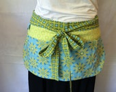 Utility Apron/Teacher Apron with 4 pockets and loop in green blue flowers and squares