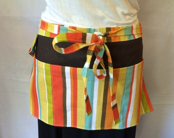 Garden Apron/Half Apron/Teacher Apron with pockets and loop in brown, green, yellow, lavendar, blue, and orange stripes
