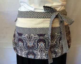 Utility Apron/Teacher Apron with 8 pockets and loop in navy blue cream purple