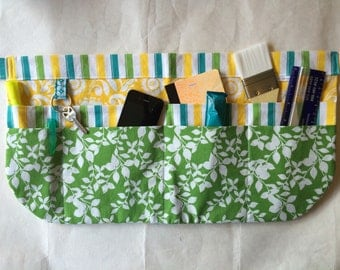 Utility Apron/Teacher Apron with 8 pockets and loop in green white yellow floral and stripe