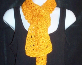 Lightweight Crochet Scarf in Orange with Gold Metallic - 5 Foot Long