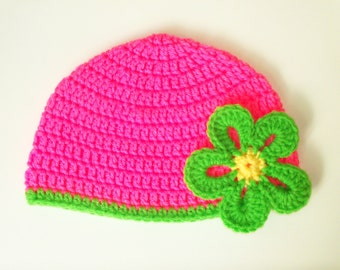 Toddler Beanie with Flower - Bright Pink with Lime Green Flower -Infant to Toddler 9 Months up to 2 Years