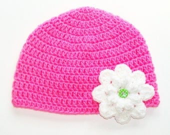 Toddler Beanie with Flower - Bright Pink with White Flower -Infant to Toddler 9 Months up to 2 Years