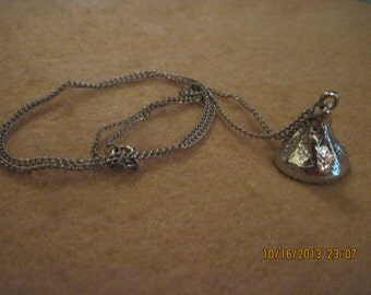 Vintage Silver Hershey's Kiss Pendant Necklace....4789....Child/Teen/Adult/Special/Everyday