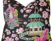 Chinoiserie Pillow - Asian Pillow - Asian Print Pillow - Toile Pillow  - Pagoda Pillow - Japanese Decor - Asian Lantern - Pagoda Print