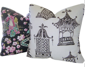Pagoda Pillow - Asian Pillow - Asian Print Pillow - Toile Pillow  - Chinoiserie Pillow - Japanese Decor - PILLOW COVER ONLY