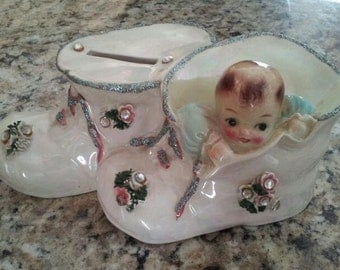 Vintage double Baby Shoes w/ Baby Bank ceramic keepsake collectible
