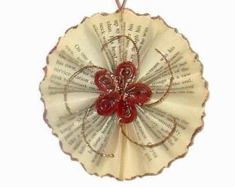 Vintage Inspired Paper Ornament, Paper Ornament, Christmas Tree Ornament, Paperback Book Page Ornament, Sepia Ornament