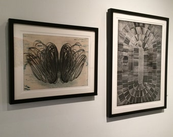 """Print Collection . Etching Set of 2 Prints . Black and White Art; """" Loop"""" + """"Pond"""". Unframed prints."""
