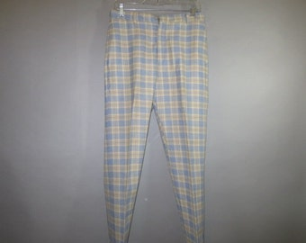 "1960's Levi Young Men's Sta-Prest Slacks // Plaid // Narrow Legs // Hipster...31"" X 30 1/2"""