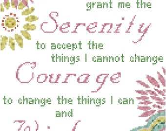 Modern Floral Serenity Prayer Cross Stitch Pattern
