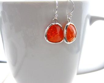 Earrings, Crackle glass bezel, Sterling silver earrings, Orange glass earrings