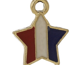"5 USA STAR Charms or Pendants . Gold Plated with enamel, red white blue, 5/8"", chg0336a"