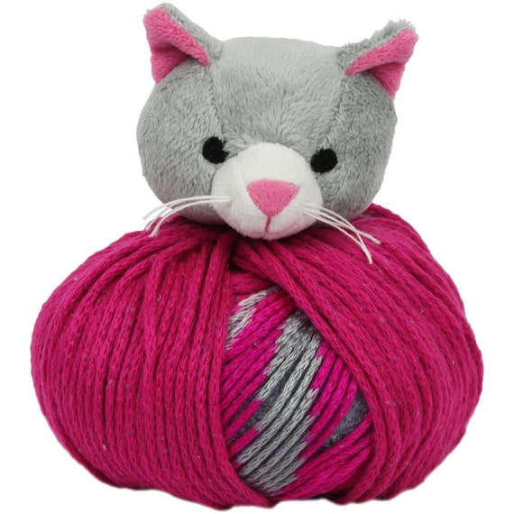 GREY KITTY CAT Knitting Hat Kit Beanie Hat Kit includes yarn