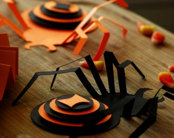3D Halloween Spider Decorations- Set of 6