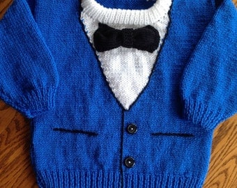New hand knit Tuxedo sweater size 2-3 in Royal blue