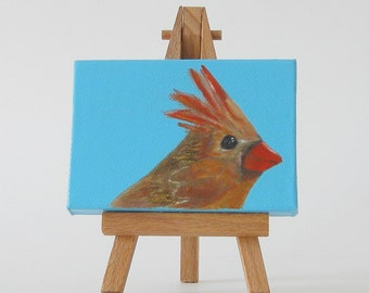 Female Northern Cardinal Mini Canvas // Original Acrylic Painting // Bird Art // Tiny Acrylic Painting
