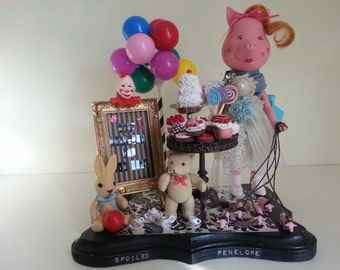 Spoiled Penelope - Art Diorama from the Circus Show -Miss Penelope the Pig Girl