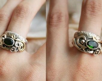 Forest Wishper Chrome Diopside Silver and Gold Ring