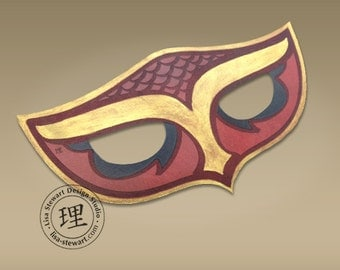 Full Grain Leather Owl 2 Mask - Animal - Halloween - Masquerade - WallArt Hand Painted Vegetable Tan