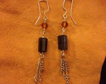 Black turmaline and amber gems stone earrings