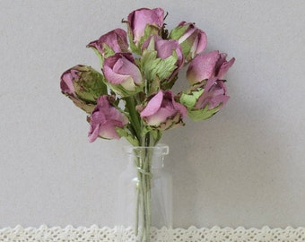 10 Paper Flowers /  Purple   Wild  Rose  buds with Leaf   Mulberry  Paper Flowers