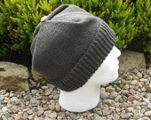 Adult men's / teenage boy's hand knitted square hat. Slate grey.
