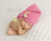 Moon Hat, Star And Moon Hat, Baby Girl Hat, Crochet Beanie, Newborn Photo Prop, Infant Hat, Mauve Pink Baby Hat, Newborn Moon Hat, Baby Hat