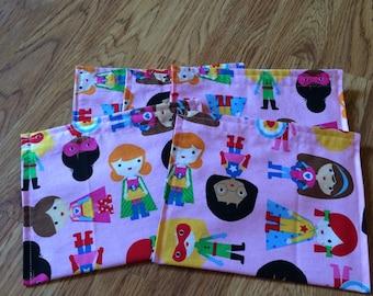Party Favors-Reusable Sandwich Bags-Super Hero Girls
