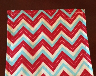 Reusable Sandwich Bag--Red and Blue Chevron