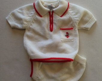 Vintage Knit Sailor Outfit (6/12 months)