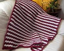 "Lap Blanket - Burgundy and Cream - Reading Chair Car Stadium Wheelchair Hospice Baby Blanket - 32"" x 34"" - Item 4401"