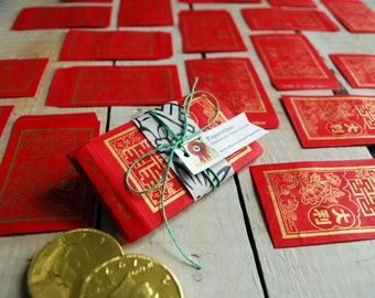 Red Envelopes with Gold Cherry Blossoms, 20 very small Redpaper envelopes,  Paper Supply Kit, Chinese New Year