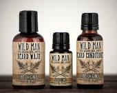 Mens Grooming Kit Wild Man Beard Gift Set - Three Pack - Beard Oil Conditioner, Beard Wash and STUD TONIC