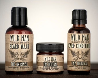 Mens Beard Grooming Gift Set THREE PACK Beard Oil Conditioner, Wash + Cream