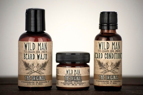 Beard Grooming Gift for Men - Three Pack - Beard Oil Conditioner, Wash + Cream - Gift Under 50