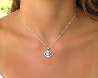 Evil Eye Silver Necklace with CZ Accents