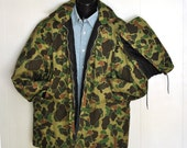 Vintage Hooded Hunting Coat Camouflage Mens Large Removable Snap On Hood Unisex Hunters Outerwear Woodland Winter Coat Made in USA America