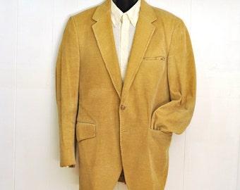 Mens Corduroy Jacket Sport Coat Vintage Blazer 42L Large Tall Bull Fighting Lining Vintage Fashion Clothing Bohemian Boho Preppy Collegiate