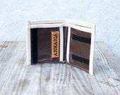 Waxed canvas bifold wallet - dark brown & sand