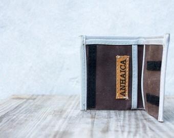 Waxed canvas bifold wallet - dark brown & grey
