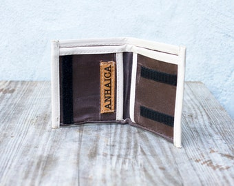 Waxed canvas bifold wallet - dark brown & sand
